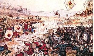 Soldati inglesi e giapponesi combattono contro le forze cinesi nella battaglia di Tientsin.