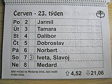 A weekly sheet from a ring binder calendar in Czech.  The sheet is printed both in black letters (black on white) and in Braille on both sides;  both writings are superimposed on one another.