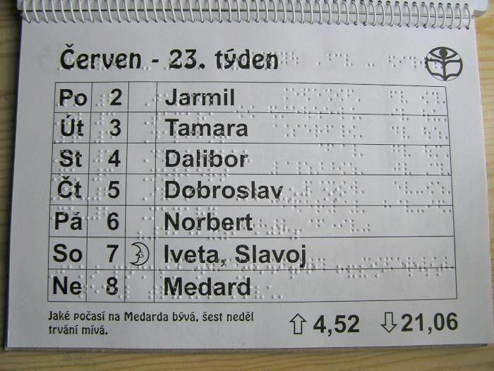 Braille calendar cs