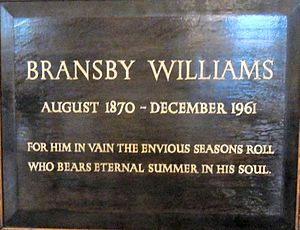 Bransby Williams - Memorial plaque to Bransby Williams in St Paul's, Covent Garden