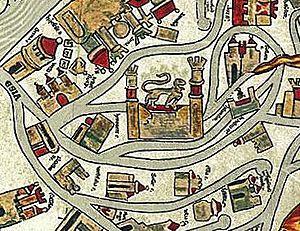 Brunswick Lion - Image: Braunschweig Brunswick Ebstorfer Karte (1300)