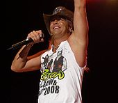 A man wearing a cowboy hat and a sleeveless concert t-shirt for the band Poison; one arm is raised while the other holds a microphone.