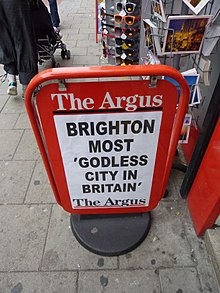 Brighton Most Godless City In Britain sign, Brighton, UK.jpg