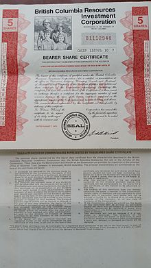 british columbia resources investment corporation share certificate both sides