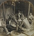 Bronze Industry Shaping Designs out of Wax before Moulding, Kioto, Japan (1905) by Keystone View Company (cropped).jpg