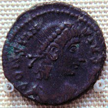 Bronze coin of Contantius II 337 361 found in Karghalik.jpg