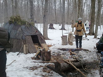Mantle Site, Wendat (Huron) Ancestral Village - Huron maple syrup demonstration, Bruce's Mill Conservation Area, Stouffville, Ontario