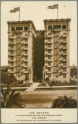 Postcard Of The Bryson Apartments At Wilshire Boulevard And Rampart Street In Los Angeles Not Excelled By Any World Printed On Front