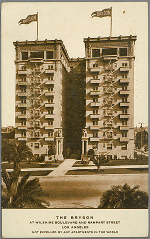 """Bryson Apartment Hotel - Postcard of The Bryson apartments at Wilshire Boulevard and Rampart Street in Los Angeles. """"Not excelled by any apartments in the world"""" -- printed on front"""