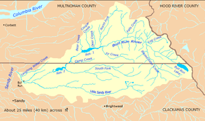 The Bull Run River watershed forms part of the western border of Hood River County, Oregon, on the east. The watershed tapers to the river's confluence with the Sandy River, on the west. The watershed is almost evenly divided between Clackamas County, on the south, and Multnomah County, on the north.