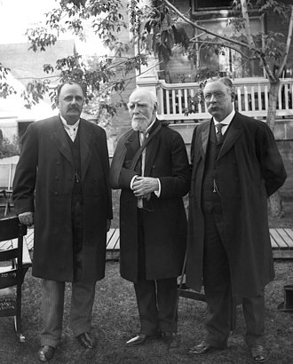 Lieutenant Governor of Alberta - Alberta's first Lieutenant Governor, George H. V. Bulyea (left), at Alberta's Government House with the Lord Strathcona and Mount Royal (centre) and Alexander Cameron Rutherford (right), 7 September 1909
