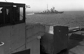 German cruiser Blücher - Blücher en route to Norway, as seen from the light cruiser Emden