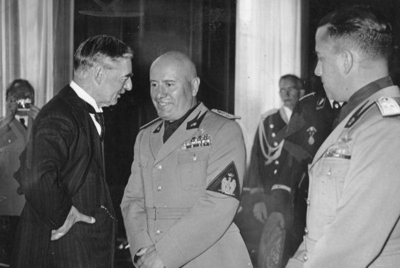 Bundesarchiv Bild 183-R99301, Münchener Abkommen, Chamberlain, Mussolini, Ciano
