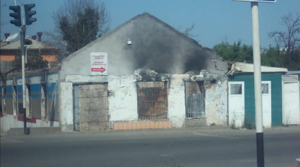 2010 South Kyrgyzstan ethnic clashes - A burned-down building in Osh a year after the clashes