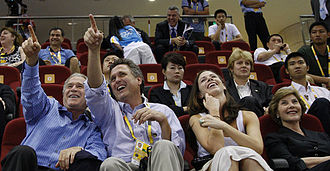 Bush family - George W. Bush, Marvin Bush, Barbara Bush and Laura Bush at the Beijing 2008 Summer Olympics Games.