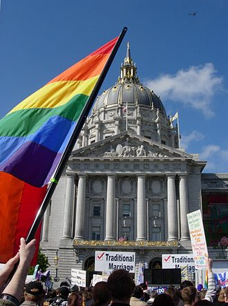 Strauss v. Horton - Pro and Anti-Proposition 8 protesters clash at a rally in front of San Francisco City Hall.
