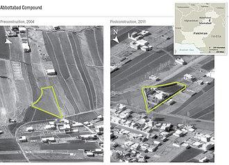 Osama bin Laden's compound in Abbottabad - Left photo taken in 2004; right photo taken in 2011