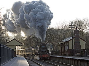 Churnet Valley Railway - A steam hauled train at Consall station
