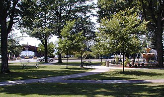 Cadillac, Michigan - The City Park, featuring the Kris Eggle Memorial Fountain and the Rotary Pavilion