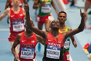 2014 IAAF World Indoor Championships – Men's 3000 metres - Ndiku crossing line in the final.