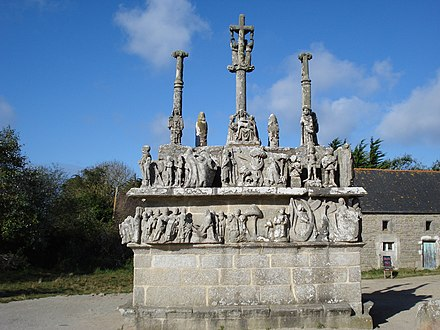 "Sculpted ""calvaries"" can be found in many villages in Lower Brittany."