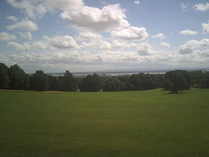 Woolton Woods and Camphill - Camp Hill viewed from its summit. The River Mersey and Moel Famau can be seen in the far background.