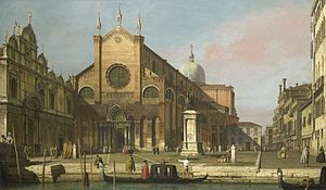 Teatro Novissimo - Canaletto's 1740 depiction of the Campo Santi Giovanni e Paolo, where the Teatro Novissimo once stood. It was demolished in 1647.
