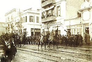 Constantine I of Greece - Constantine with George I and the Greek Army enter Thessaloniki.