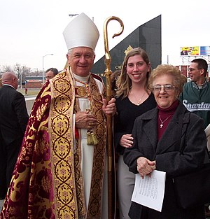 Adam Maida - Cardinal Maida (left) outside the Cathedral of the Most Blessed Sacrament