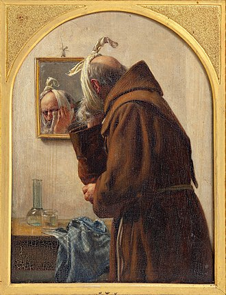 A monk with a toothache examines himself in a mirror, painting by Carl Bloch from 1875. Carl Bloch, En munk, der spejler sig, 1875, 0073NMK, Nivaagaards Malerisamling.jpg