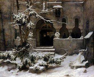 Karl Friedrich Lessing - Carl Friedrich Lessing - Monastery in snow - Klosterhof im Schnee