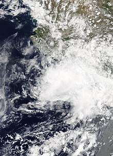 Visible satellite image of Tropical Depression Carlotta weakening off the southern coast of Mexico on June 18.