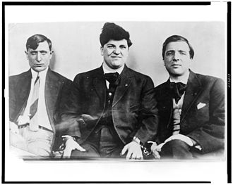 Joseph James Ettor - J.J. Ettor (center), flanked by Joseph Caruso and Arturo Giovannitti, his co-defendants in the 1912 Lawrence trial