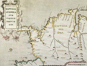Castilla de Oro - Castilla del Oro mapped in 1550 by Amerigo Vespucci