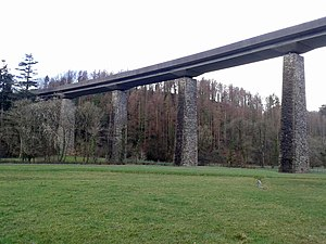 A361 road - The pillars of Castle Hill Viaduct have been reused for the North Devon Link road