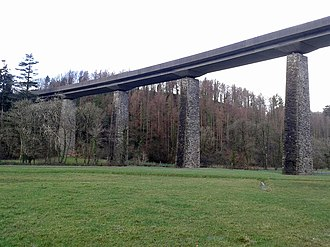 Devon and Somerset Railway - The pillars of Castle Hill Viaduct have been reused for the North Devon Link road (A361)
