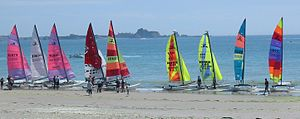 Hobart Alter - Hobie Cat catamarans on beach at Saint Helier, Jersey.