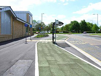 A6136 road - Bus stop in A3136 in Catterick Garrison town centre