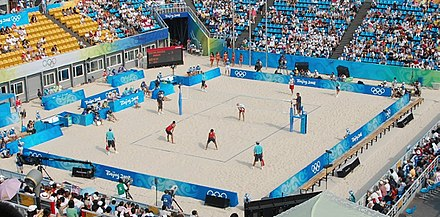 A beach volleyball match at the 2008 Summer Olympics Chaoyang Park Beach Volleyball Ground (cropped).jpg