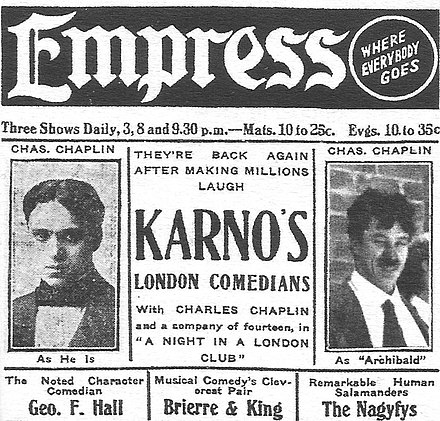 Advertisement from Chaplin's American tour with the Fred Karno comedy company, 1913 Chaplin Karno advert.jpg