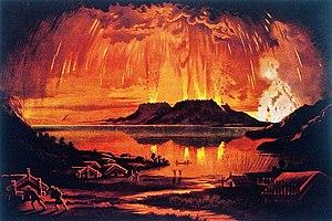 1886 eruption of Mount Tarawera - Image: Charles Blomfield Mount Tarawera in eruption June 10 1886