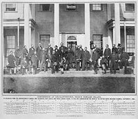 Delegates of the Charlottetown Conference on the steps of Government House, September 1864.