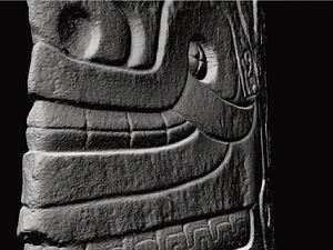 Lanzón - Closeup of the original Lanzon Stela, image taken from laser scan data collected by nonprofit CyArk