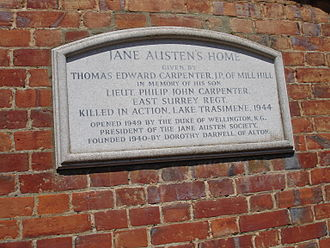 Jane Austen's House Museum - Inscription on Jane Austen's House