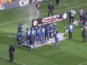 2007 Football League Cup Final - The Chelsea players celebrating their victory