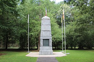 New Echota - The monument on New Echota Historic Site honors the Cherokee who died on the Trail of Tears.