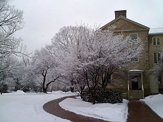 Haverford College - Cherry trees surrounding Founders Hall after a snow storm.