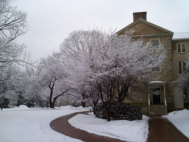 Cherry trees surrounding Founders Hall after a snow storm.