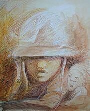 """""""Enfant soldat en Côte d'Ivoire, Afrique"""", Gilbert G. Groud, 2007, technique de mixage: lavis, aquarelle et crayon à cire"""