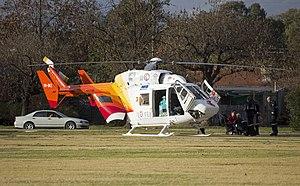 Child Flight (VH-BKZ) Eurocopter-Kawasaki BK-117B-2 at the Duke of Kent Oval Helipad (2).jpg